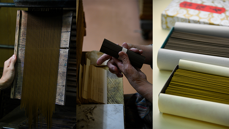 """<p>Coloring agents and hot water are added to the ingredients, which are mixed and extruded through a machine to create sticks. Kunmeido's premium """"Reiryoko"""" incense (Right).</p>"""