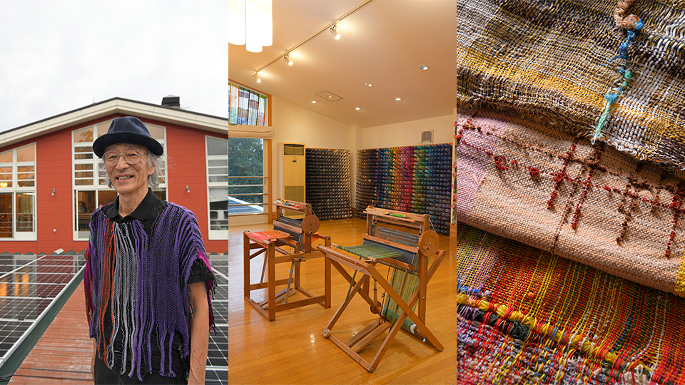 <p>(Left) Saori no Mori's Jo Kenzo is an enthusiastic promoter of Saori weave. (Bottom) Looms developed by Saori no Mori are popular around the world. (Right) No two products are alike.</p>