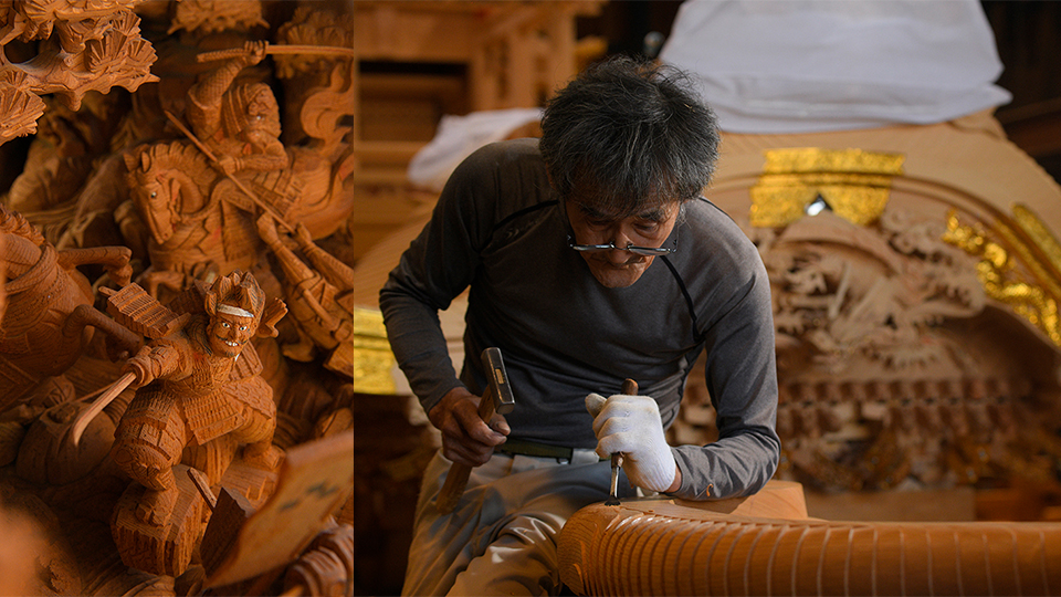 <p>Sculpted detail of the float owned by the Kita-machi neighborhood. (Right) Workers carving at the Oshita Komuten workshop. The scent of freshly-shaved wood fills the air.</p>