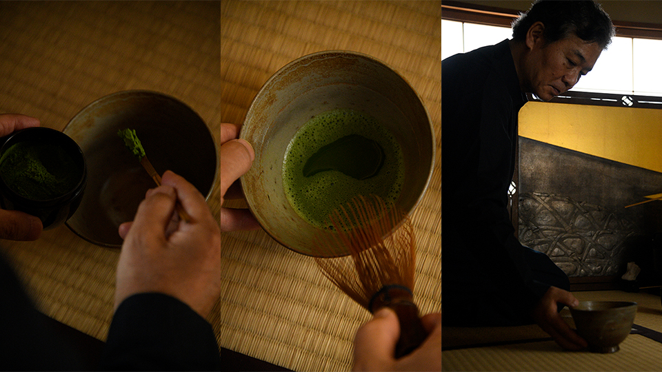 <p>In the tea room, Tanimoto Jun'ichi, president of Tea Tsuboichi, serves matcha. The tea bowl and other utensils are carefully selected and each has its own story. The movements in the procedure of preparing tea are endowed with meaning and natural grace.</p>